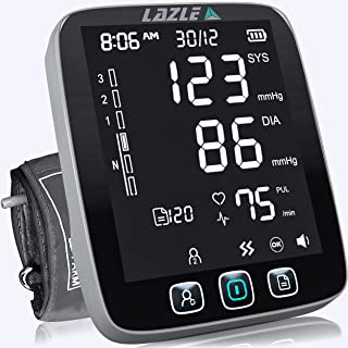 LAZLE Blood Pressure Monitor - Automatic Upper Arm Machine & Accurate Adjustable Digital BP Cuff Kit - Largest Backlit Dis...