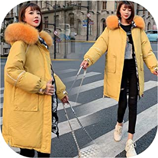 Surprise S Winter Women Jacket Warm Hooded Large Collar Embroidery Double Sided Thick Overcoat