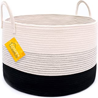 OrganiHaus XXL Cotton Rope Basket in Black and Off White with Stitches | Tall 15x18 Storage Basket with Long Handles | Decorative Black and White Basket for Blankets Living Room