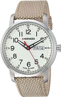 Wenger Men's Attitude Stainless Steel Swiss-Quartz Nylon Strap, Beige, 21.6 Casual Watch (Model: 01.1541.112)