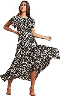 فستان ماكسي بقبة دائرية للنساء وطباعة ازهار واغلاق بسحاب للنساء