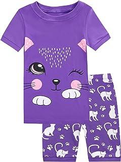 Girls Pajamas 100% Cotton Childrens 2 Piece Short Set Toddler Sleepwear Clothes