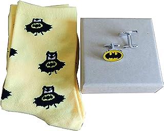 Set de regalo de calcetines y gemelos de superhéroe – Navidad cumpleaños boda – Thor, Spiderman, Capitán América, Iron Man, Batman, Superman Marvel & DC