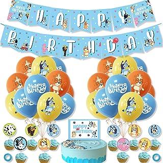 38Pieces Bluey Bingo birthday party supplies,Including Birthday Banner,Bluey Cake Topper and Cupcake Topper,Bluey Bingo Ha...