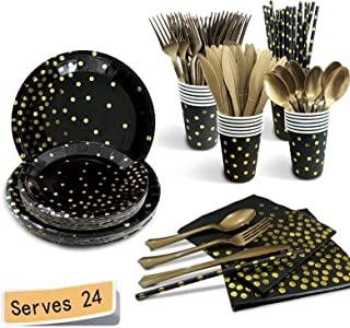 Fruitful Party Black and Gold Party Supplies 192PCS/Serves 24 Disposable Dinnerware Set, Golden Dot Paper Plates Cups Stra...