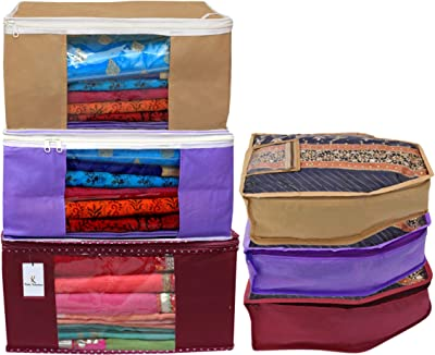 Kuber Industries Non Woven 3 Pieces Saree Cover/Cloth Wardrobe Organizer and 3 Pieces Blouse Cover Combo Set (Maroon & Purple & Brown)