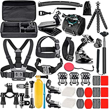 Neewer 50-In-1 Action Camera Accessory Kit Compatible with GoPro Hero 9 8 Max 7 6 5 4 Black GoPro 2018 Session Fusion Silver White Insta360 DJI AKASO APEMAN Campark SJCAM Action Camera
