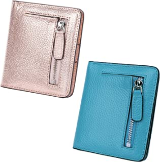 AINIMOER Women Leather Wallet RFID Blocking Small Mini Bifold Zipper Pocket Card Case Champaign Gold and Sky Blue Bundle