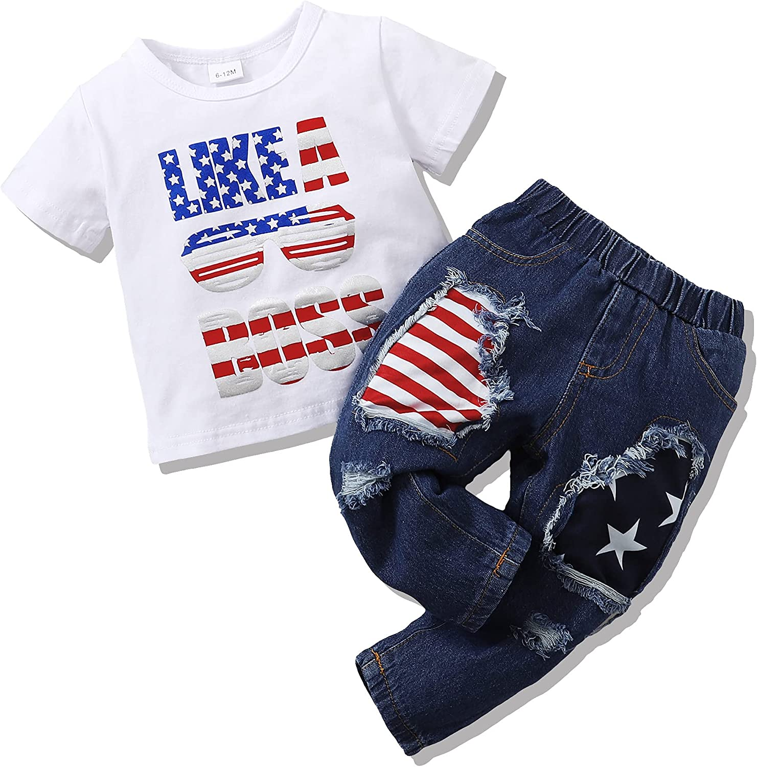 Toddler Boy Clothes 18-24 Months 4th of July Boy Outfits Short Sleeve T-Shirt Top with American Flag Ripped Jeans 2PCS Summer Clothing Set White