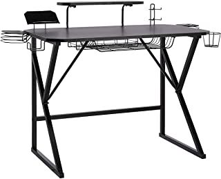 AmazonBasics Gaming Computer Desk with Storage for Controller, Headphone & Speaker - Black
