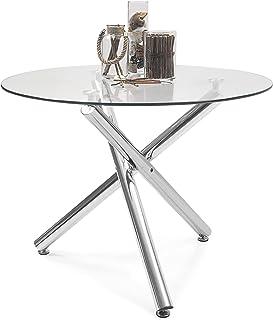 Mesa de Comedor Redonda Brisa sobre de Cristal Templado Transparente y Base de Metal Pulido Acabado Brillo (Cristal Canto ...