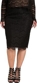 Plus Size Women's Black Ponte Lace Zipper Pencil Skirt