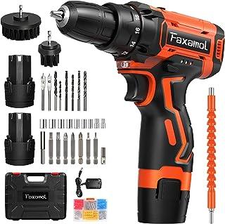 Faxamol Cordless Drill Driver 12V, Combi Drill 90PCS with 2 Batteries 1.5Ah, 30Nm Max Electric Screwdriver, 18+1 Torque, ...