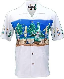 Tropical Luau Beach Novelty Beer Bottle Print Men's Hawaiian Aloha Shirt