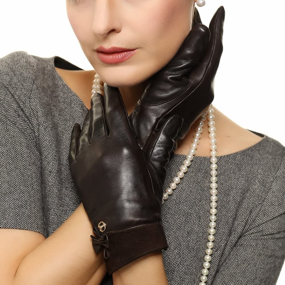 ELMA Women Nappa Leather Winter Gloves Suede Cuff Bow