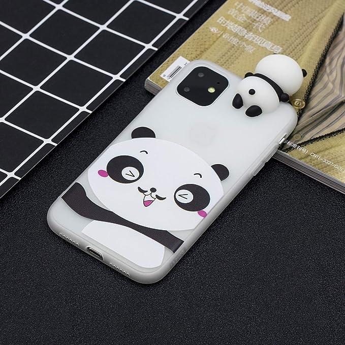 Cochon 3D Dessin Animé Silicone Coque iPhone 11,DasKAn Mignon Animaux Motif Couleur Unie Ultra Mince Souple Fine Matte Housse de Protection Arrière ...