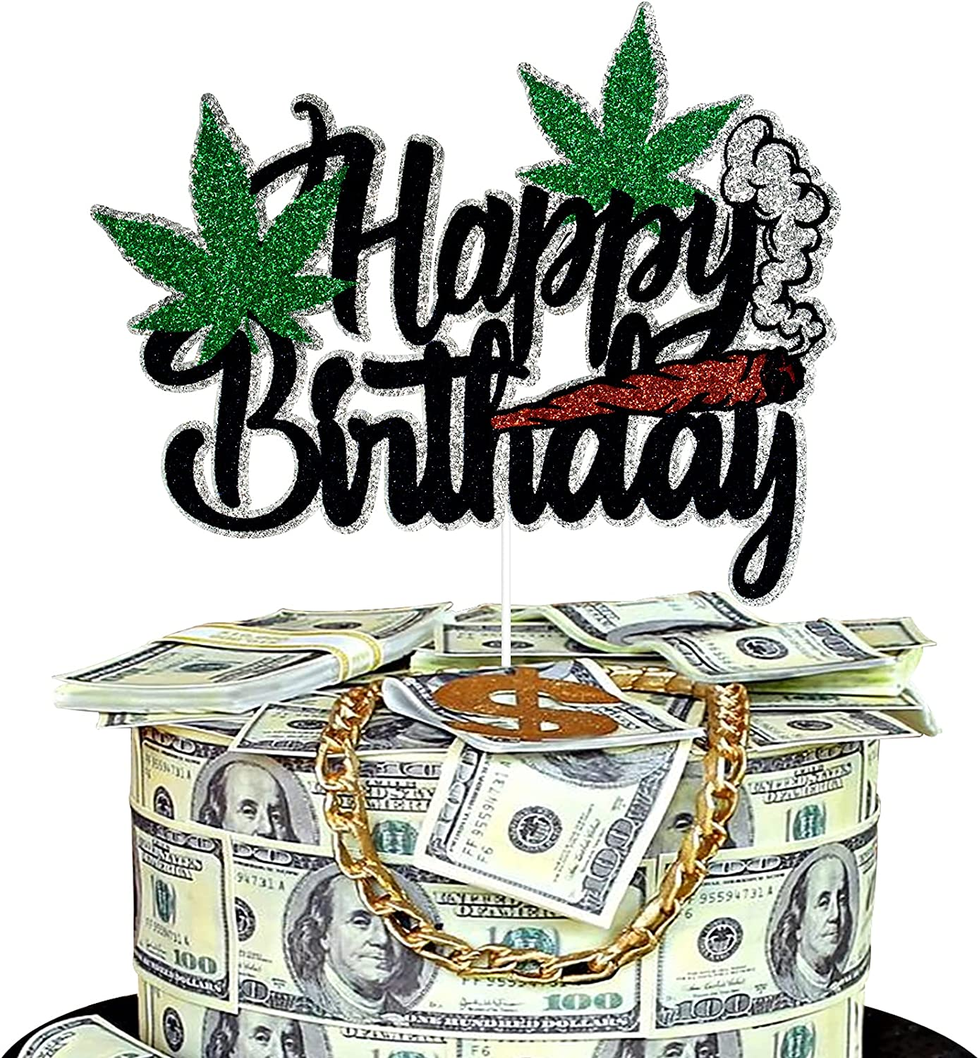 Pot Leaves Happy Birthday Cake Topper Leaf Glitter Recommendation Weed Genuine Black -