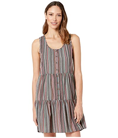 Mod-o-doc Sandcastle Stripe Button Front Tiered Tank Dress (Grey) Women