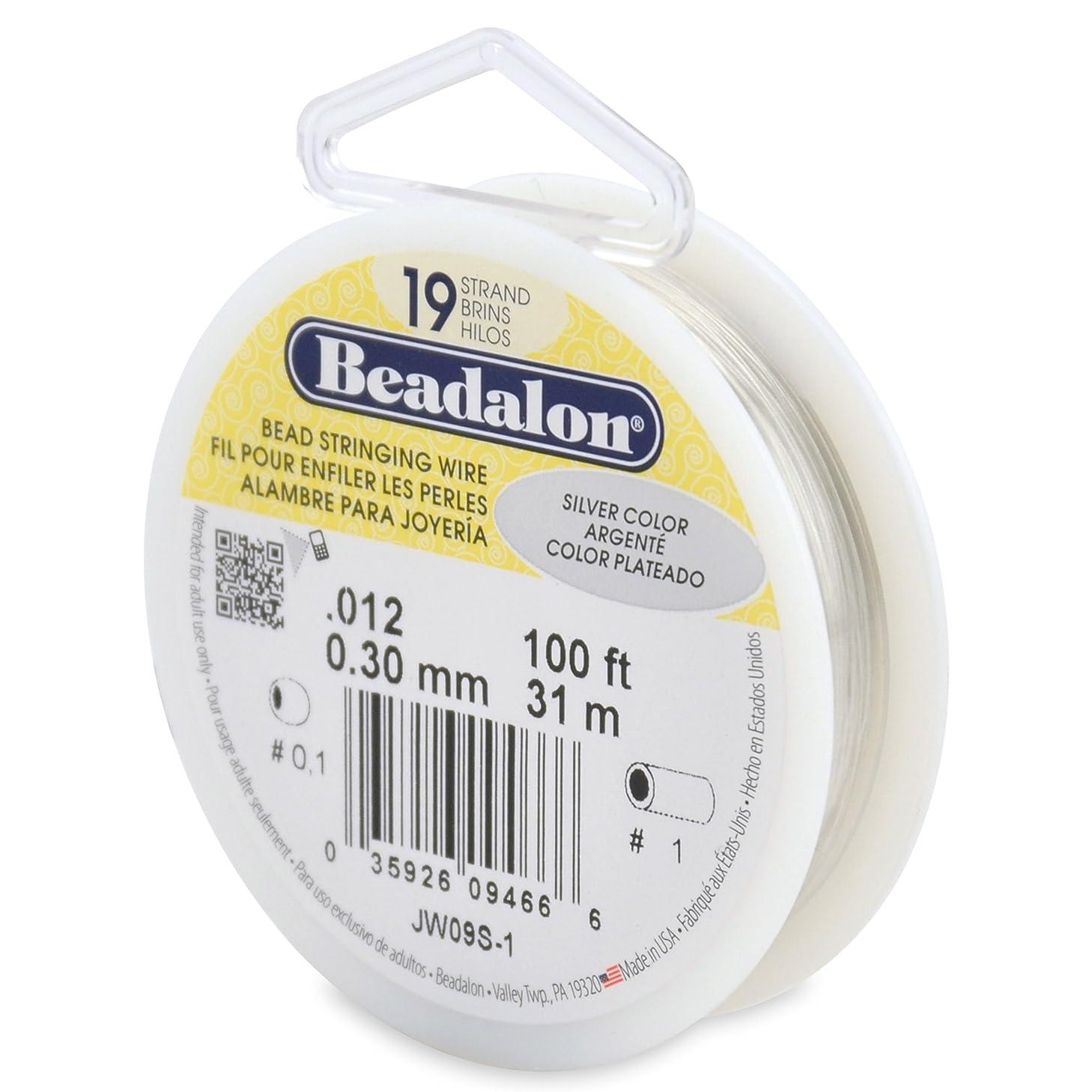 Beadalon 19-Strand Bead Stringing Wire, 0.012-Inch, Silver Color, 100-Feet