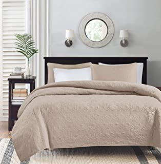 Madison Park Quebec Dusty Pale Khaki 3-Piece Quilted King Coverlet Set—For King or Cal King Bed –Ideal For Warm Climate Ro...