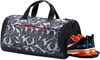 Sports Gym Bag with Shoes Compartment, Waterproof Travel Duffel Bag for Men and Women (Geometry Grey)