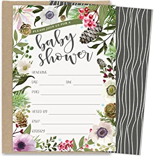 Koko Paper Co Winter Baby Shower Invitations with Rustic Winter Florals. Set of 25 Fill in the Blank Style Invites and Kraft Envelopes. Printed on Front and Back.