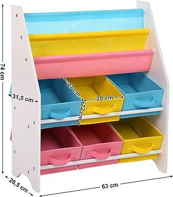 SONGMICS Livre en Bois de Stockage de boîtes de Jouet et Meuble de Rangement 2étages étagère Jouet + 3étages étagère Gkr36wt