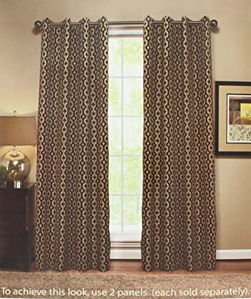 Anello Grommet Top Window Curtain Panel 54 Inches Wide x 84 Inches Length in a Brown Color Pattern