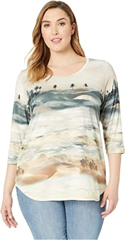 Plus Size Palm Tree Shirttail Tee