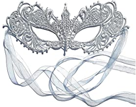 Samantha Peach Masquerade Mask - Women's Luxury Masked Ball Mask - Lace Goddess Ana Mask