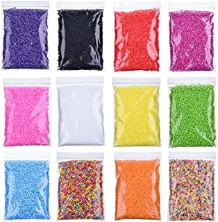 Antner 12 Pack Styrofoam Slime Beads Micro Polystyrene Foam Balls for Slime Art Craft, 0.08-0.15inch