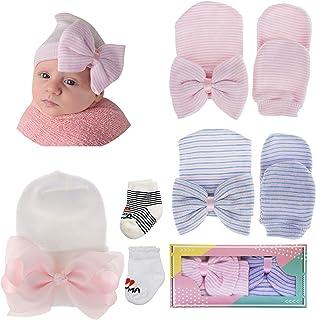 Hongyans, Set de Regalo Bebé Recién Nacido, 3 Piezas Sombrero Gorro de Bebé 2 Pares Mitones de Bebé Manoplas Recién Nacidos y 2 Pares Calcetines de Bebé Algodón para Regalo Baby Shower