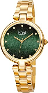 Burgi BUR226 Designer Women's Watch - Stainless Steel Chain Link Band, Glitter Dial, Swarovski Crystal Markers -Fashion Bracelet Wristwatch