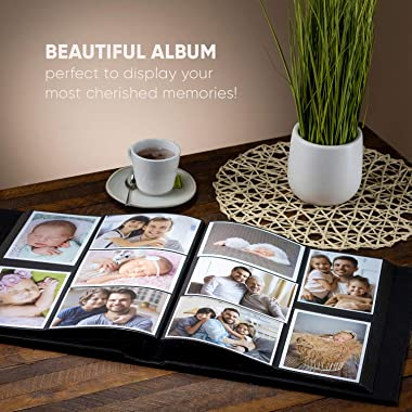 BLYNG Photo Album 4x6 - Picture Album 500 Slots of Horizontal and Vertical Photo Slots, Album Cover is Designed with Faux Lea