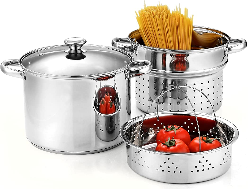 Cook N Home 02401 Stainless Steel 4 Piece 8 Quart Pasta Cooker Steamer Multipots