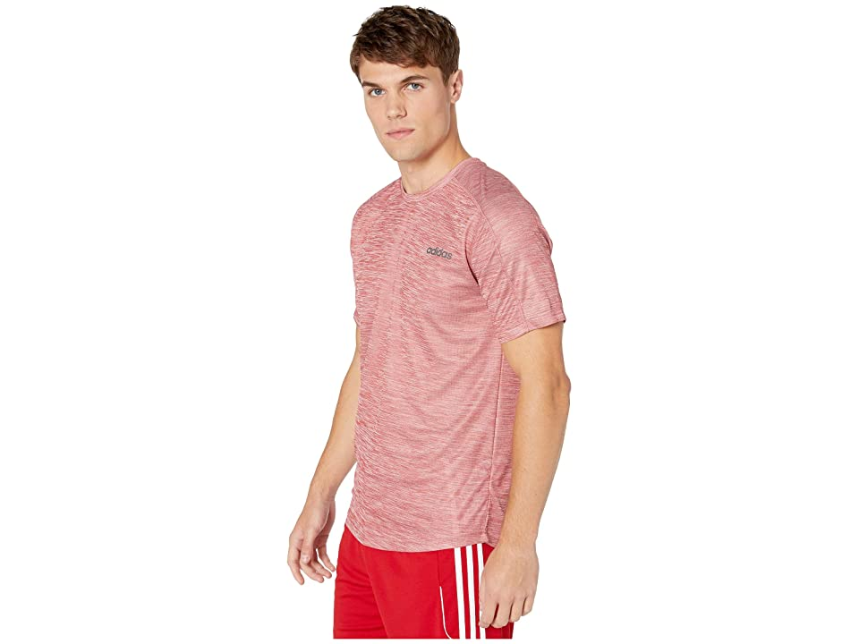 adidas Designed-2-Move Short Sleeve Heathered Tee (Active Maroon/White) Men's T Shirt, Red