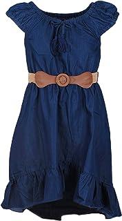 dollhouse Girls' Dress –Belted Cap Sleeve Boho Denim Peasant Dress