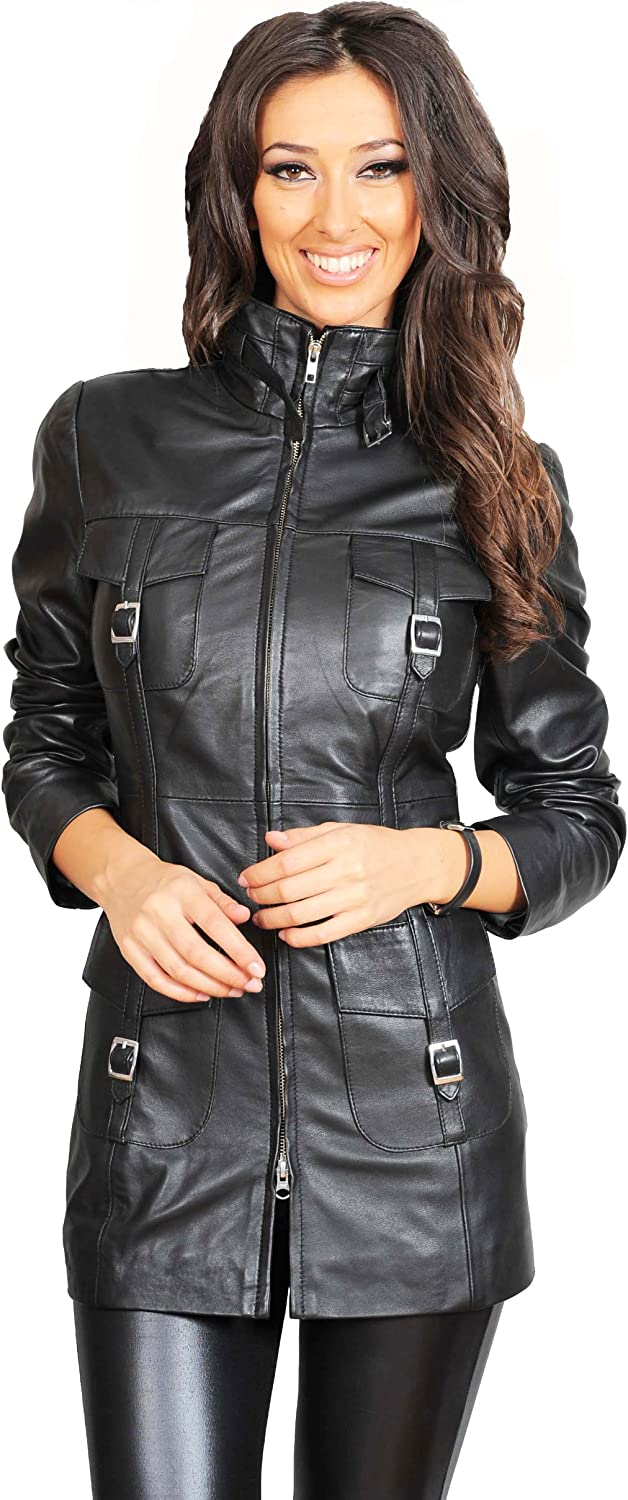 A1 FASHION GOODS Womens Latest 3/4 Fitted Real Leather Coat Trendy Zip Up Jacket Carol Black