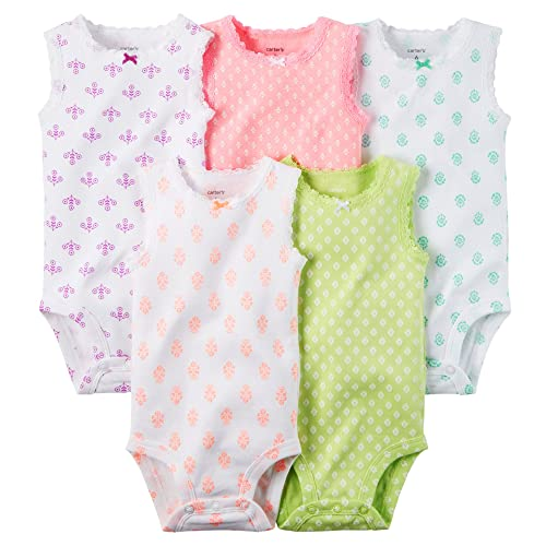 Carters Baby Girls 5 Pack Bodysuits (Baby) - Sleeveless Pattern-6M