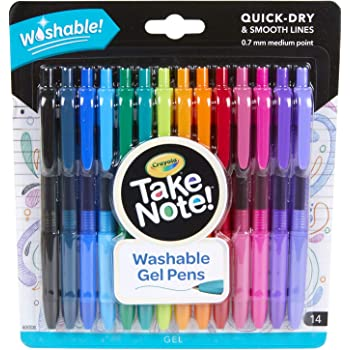 Crayola Colored Gel Pens for Kids and Adult Coloring, Washable Pens Medium Point , 14 Count