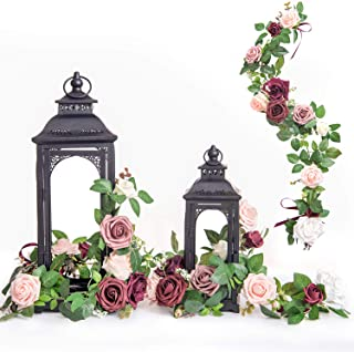Ling's moment Set of 6 Handcrafted Floral Arrangements for Lantern Decorations Flower Ring Wedding Party Centerpieces (Burgundy)