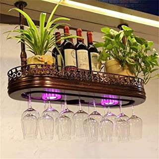 XHCP Organisation de Rangement de Cuisine casier à vin en métal monté Suspendu, Support Suspendu en Verre à vin en Fer eur...