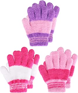 Kids Gloves Full Fingers Knitted Gloves Warm Mitten...