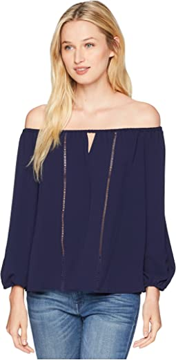 3/4 Sleeve Off the Shoulder Blouse with Faggoting