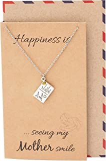 I Love You Mom Pendant Necklace for Mother, Gifts for Mother's Day, Mothers Necklace with Inspirational Greeting Card