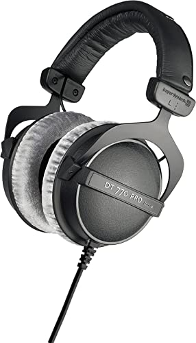 beyerdynamic DT 770 PRO 80 Ohm Over-Ear Studio Headphones in Gray. Enclosed design, wired for professional recording ...