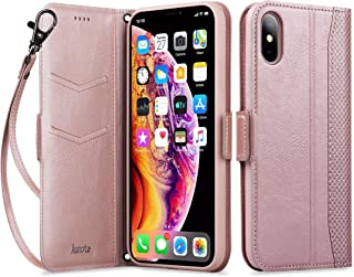 aunote iphone x case, iphone 10 leather wallet case, dropproof case, flip folio wallet case with