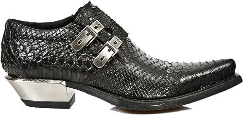 M.7934 S2 Rock New Metallic SchwarzSchnalle Schuhe Heel