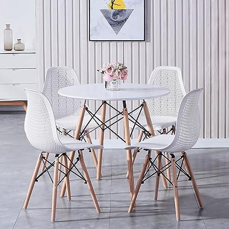 GrandCA HOME Ensemble de Meubles de Salle à Manger - Style scandinave Moderne 4 chaises + 1 Table Ronde en MDF dans la Salle à Manger, Le Salon, la Chambre, etc. ((Grille Blanche))