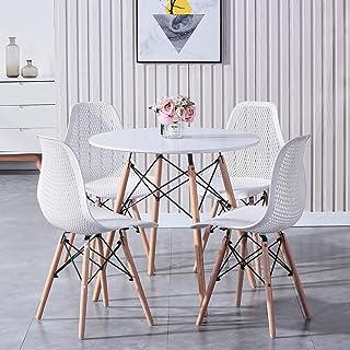 GrandCA HOME Ensembles pour Salle à Manger, Une Table et Quatre chaises, Table à Manger et chaises avec Pieds en Bois Mass...